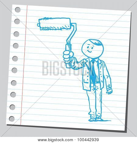 Businessman with paint roller