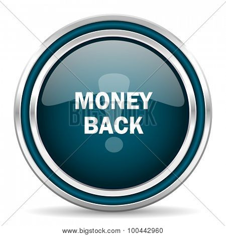 money back blue glossy web icon with double chrome border on white background with shadow