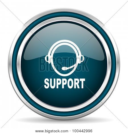 support blue glossy web icon with double chrome border on white background with shadow