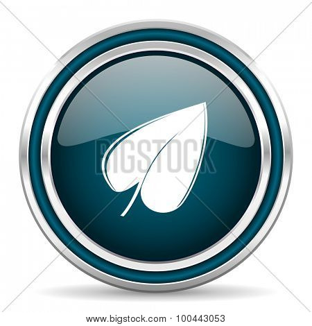 leaf blue glossy web icon with double chrome border on white background with shadow