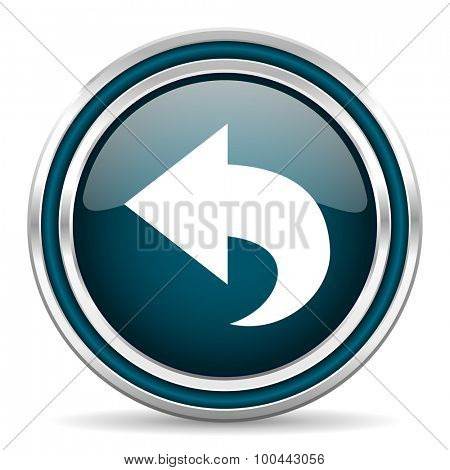 back blue glossy web icon with double chrome border on white background with shadow