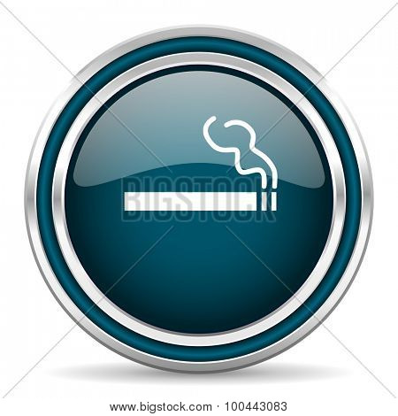 cigarette blue glossy web icon with double chrome border on white background with shadow