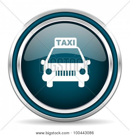 taxi blue glossy web icon with double chrome border on white background with shadow