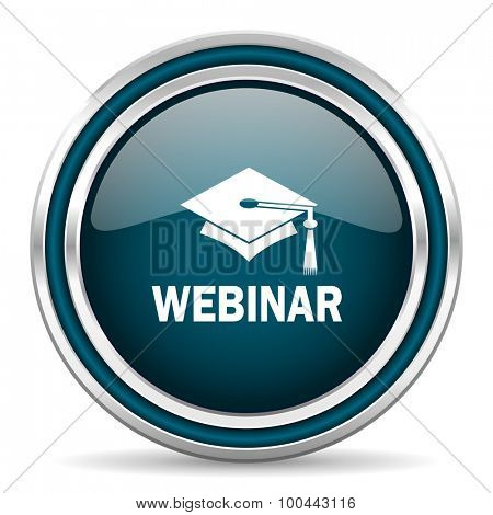 webinar blue glossy web icon with double chrome border on white background with shadow
