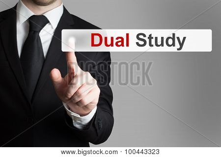 Businessman Pushing Button Dual Study