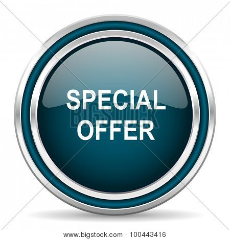 special offer blue glossy web icon with double chrome border on white background with shadow