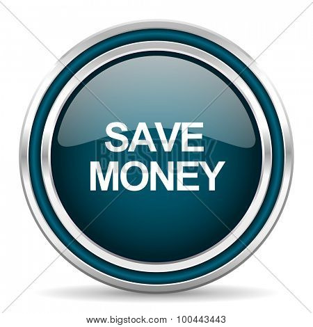 save money blue glossy web icon with double chrome border on white background with shadow
