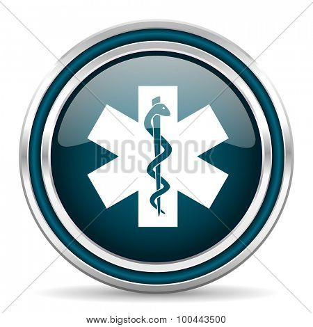 emergency blue glossy web icon with double chrome border on white background with shadow