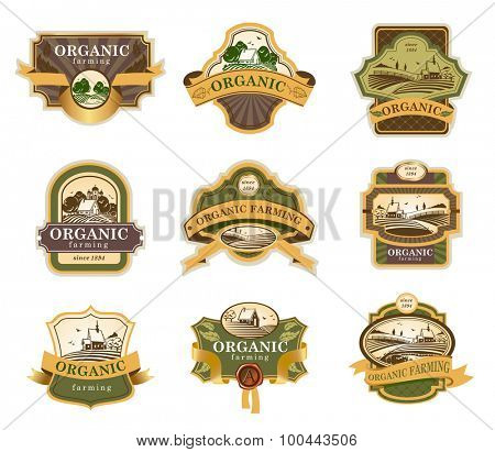 Vector lables for Organic farming products with rural landscapes.