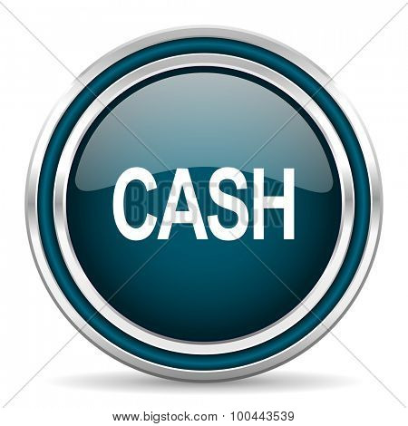cash blue glossy web icon  with double chrome border on white background with shadow