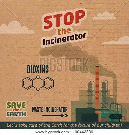 Stop Incinerator Cardboard Illustration