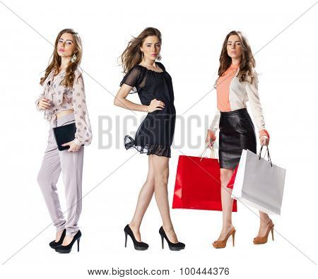 Full length shot of sexy women, collage three sexy girls, isolated on white background