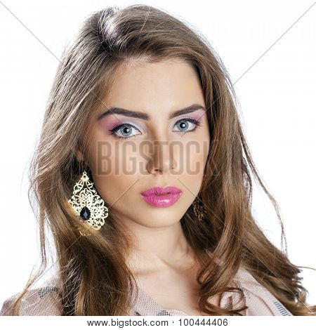 Beautiful Brunette Girl with hairstyle and make up isolated on white background