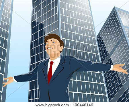 Businessman With Spread Hands