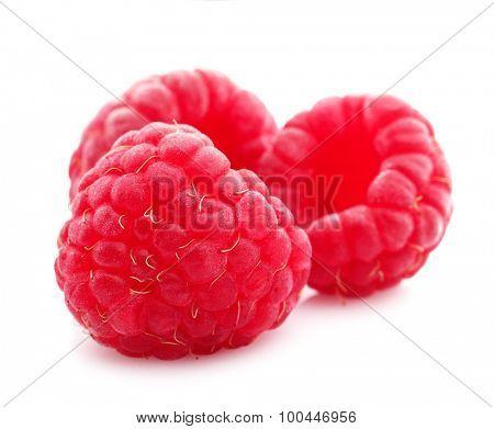 Fresh raspberries isolated on white