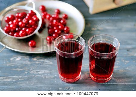 Sweet homemade cherry juice on table, on light background