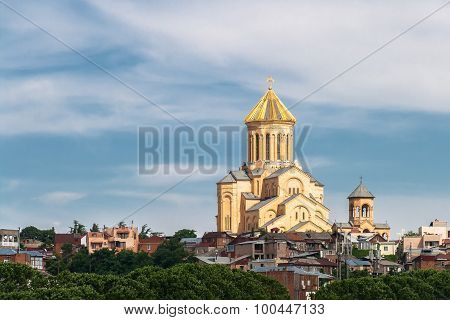 Holy Trinity Cathedral of Tbilisi with golden rooftop