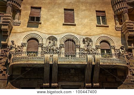 Old Postcard With Architectural Details On A Historic Building In Trieste, Italy