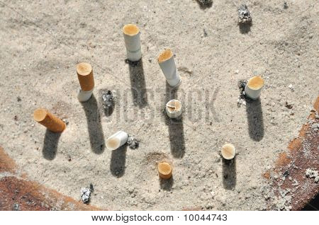 Ash Tray Cigarettes Sand Outdoor