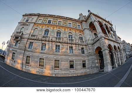 Fisheye View Of Government Palace In Trieste, Italy 1