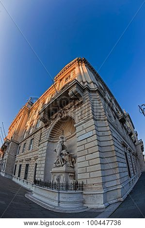 Fish Eye View With Facade Of Lloyd Triestino Palace In Trieste