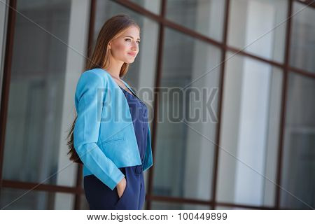 Morning portrait of a business lady,near the office