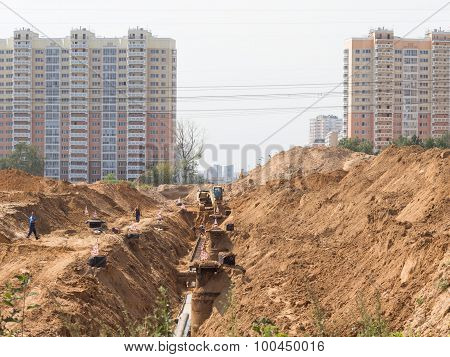 Construction Of The Road To A New Area