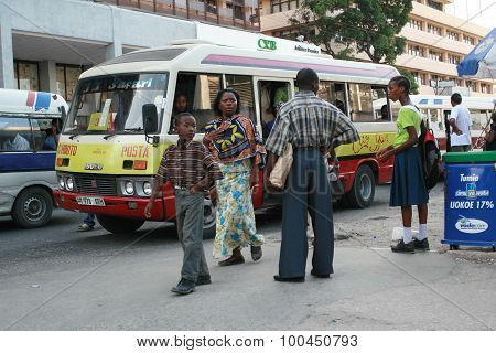 Bus Stop At Rush Hour, passengers Of Municipal Public Transport.