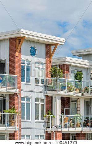 Modern apartment buildings in Richmond, British Columbia, Canada.