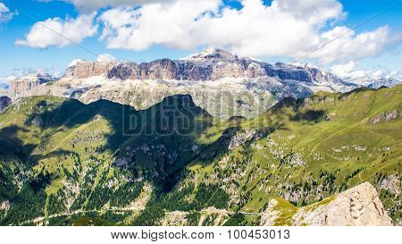 Panoramic View Of The Sella Group, A Massif In The Dolomites Mountains