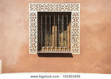 Elegant, old windows and classical city of San Ildefonso, Palacio de la Granja in Spain