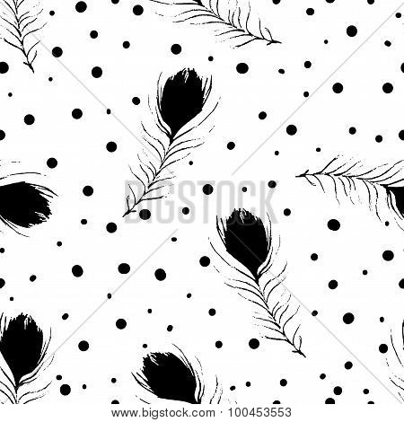 Vector Seamless Pattern. Vintage White Background With Black Abstract Peacock Feathers And Dots.