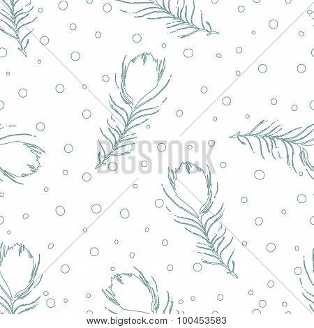 Seamless Abstract Pattern With Peacock Feathers And Dots. Vintage White Background.