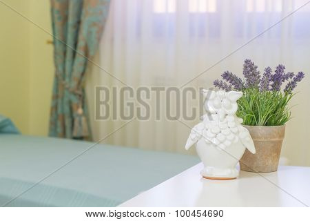 owl and lavender particular close up in bedroom