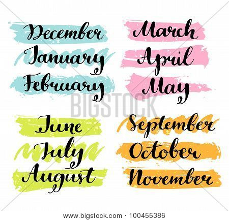Handwritten months of the year. Calligraphy words for calendars and organizers.