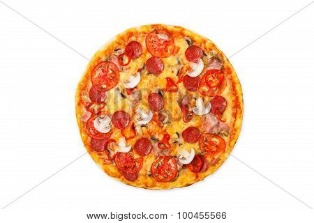Delicious Pizza With Mushrooms, Chili And Pepperoni