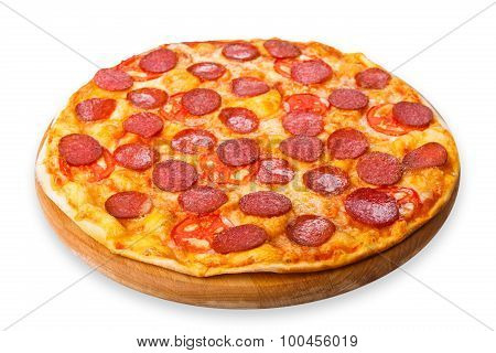 Delicious Pizza With Pepperoni And Tomatoes