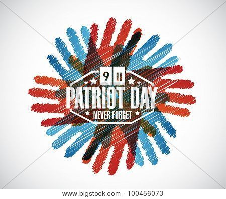 Never Forget. Hands Patriot Day Sign
