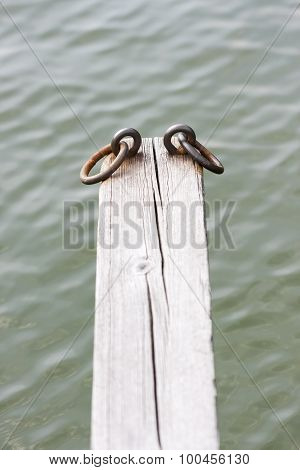 Iron Loops On Top Of A Timber Beam