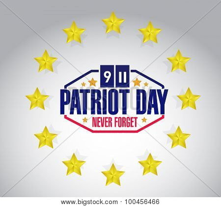 Patriot Day Star Seal Sign Illustration Design