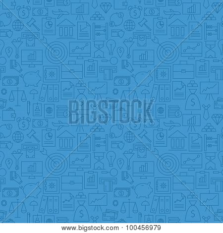 Thin Finance Line Money Banking Seamless Blue Pattern