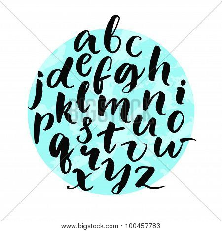 Typography poster with lowercase english alphabet at circle background. Modern brush calligraphy.
