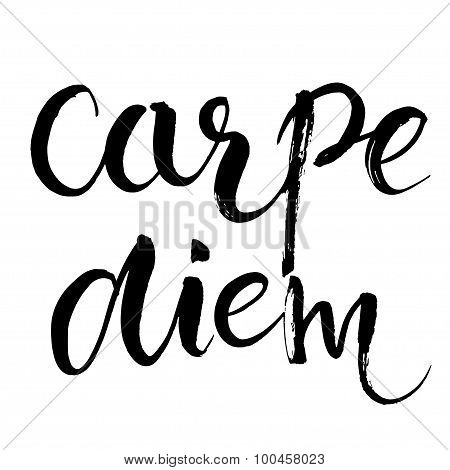 Carpe diem - latin phrase means Capture the moment. Inspirational quote expressive handwritten with