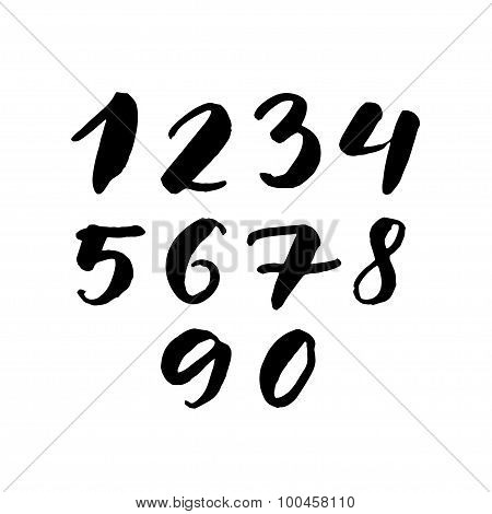Black handwritten numbers 1, 2, 3, 4, 5, 6, 7, 8, 9, 0. Freehand set of vector characters isolated o