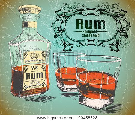 Rum was pour in two glasses with bottle on shabby background