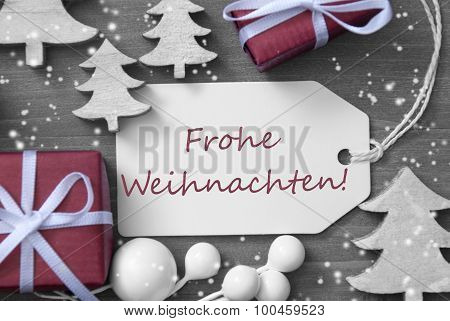 Label Gift Snowflakes Frohe Weihnachten Means Merry Christmas