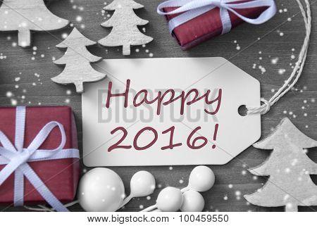 Christmas Label Gift Tree Snowflakes Happy 2016