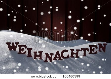 Weihnachten Mean Christmas On Snow With Snowflakes