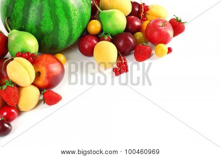 Composition with fresh fruits isolated on white
