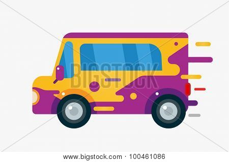 Vector cartoon car icon. Car cute simple flat style. Colorful car element. Fast drive colorful vector car. Transport car. Car isolated on white. Car automobile.